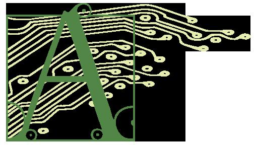 Artigiana Logo letter A sketch in style of Albrecht Dürer with stylized circuit tracks behind 2X size